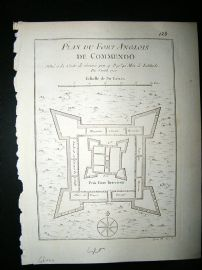 Africa Ghana: C1750 Antique Map, Fort de Commendo Bellin Prevost